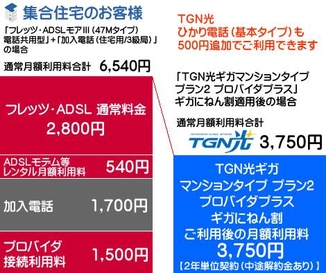 フレッツADSLとTGN光ギガとの料金比較です