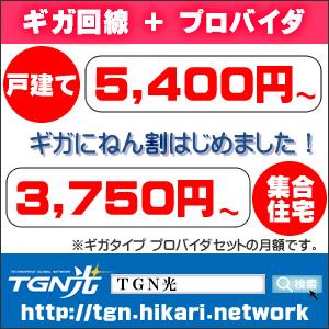 【TGN光】ギガにねん割はじめました!プロバイダセットで戸建5400円から!マンションタイプは3750円からです!